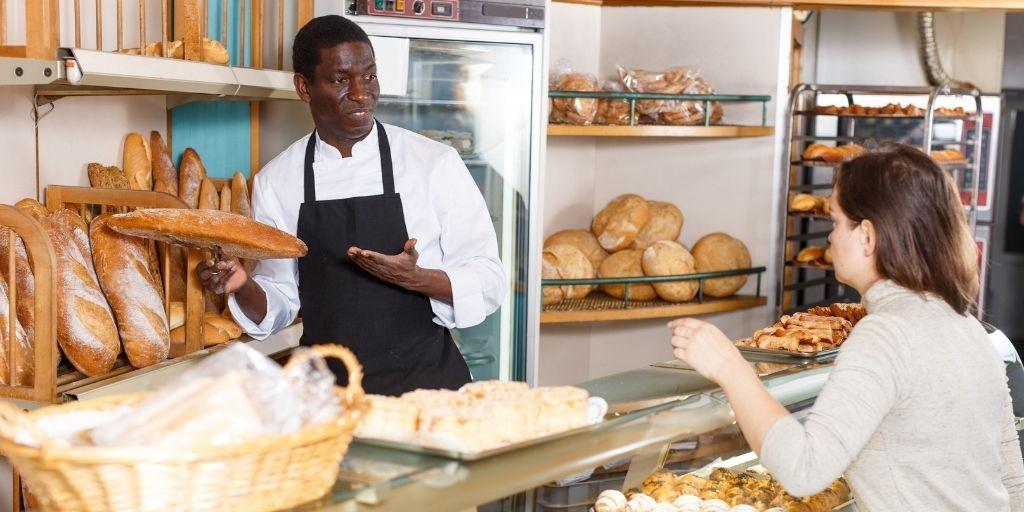 man serving a customer